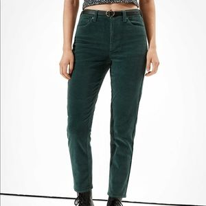 American Eagle Green corduroy mom jeans